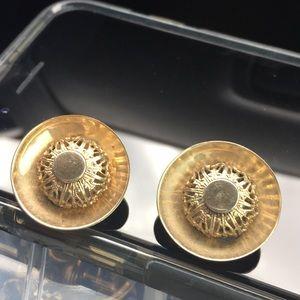 Filigree brass lace clip earrings vintage 1960s